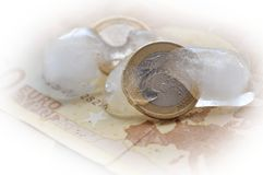 Bevriezende Euro Royalty-vrije Stock Foto's