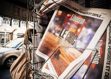 Bevrijdings Franse Pers die over de Strook van Las Vegas van 2017 nieuws schieten Stock Fotografie