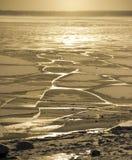 bevroor het water in Siberische rivier stock foto's