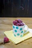 Bevroren aardbeien in een kop stock afbeelding
