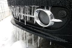 Bevroren auto dicht omhoog Royalty-vrije Stock Afbeelding
