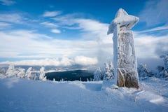 Bevroren bergklokketoren Stock Afbeelding