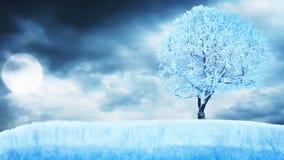 Bevroren boom op ijs onder maan met wolken stock video