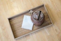 Bevroren chocolade in de plaat royalty-vrije stock afbeeldingen