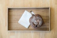 Bevroren chocolade in de plaat royalty-vrije stock fotografie