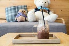 Bevroren chocolade in de plaat royalty-vrije stock foto's