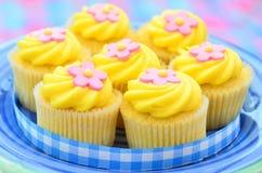 Bevroren citroen cupcakes Stock Afbeeldingen