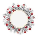 Bevroren de Sneeuw Rode Snuisterijen van het Takjes Gouden Embleem royalty-vrije illustratie