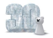 Bevroren dertig en ijsbeer Royalty-vrije Stock Foto