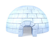 Bevroren die iglo op witte achtergrond wordt geïsoleerd Stock Afbeelding