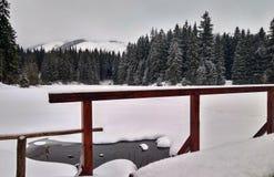 Bevroren die meer met ijs en sneeuw wordt behandeld royalty-vrije stock foto's