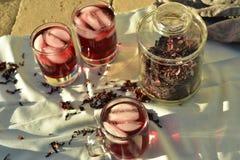 Bevroren die thee met de donkerrode bloemblaadjes van de Hibiscusbloem wordt gemaakt Stock Afbeelding