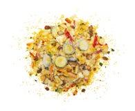 Bevroren die voedsel op witte achtergrond wordt geïsoleerd stock afbeeldingen