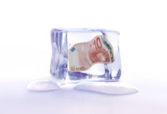 Bevroren euro activa stock fotografie