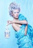 Bevroren fee met lantaarn Stock Foto's