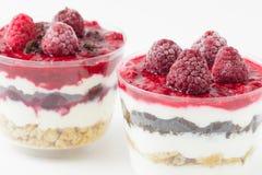 Bevroren frambozen met graangewassen en yoghurt Royalty-vrije Stock Afbeeldingen