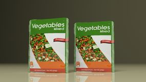 Bevroren Groentenpakketten 3D Illustratie Stock Afbeeldingen