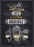 Bevroren het bordmenu van koffiecocktails Royalty-vrije Stock Foto
