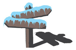Bevroren houten teken royalty-vrije illustratie