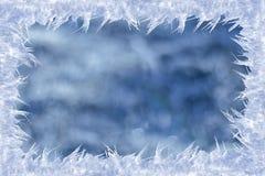 Bevroren kader op een geweven achtergrond Stock Afbeeldingen
