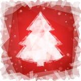 Bevroren Kerstboom op een rode vierkante achtergrond Royalty-vrije Stock Foto's