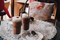 Bevroren koffie in koffierestaurant Stock Foto