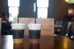 Bevroren koffie latte en bevroren koffiemocha royalty-vrije stock foto