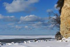 Bevroren kustlijn Stock Foto's