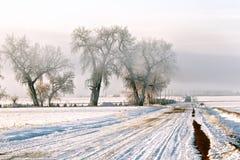 Bevroren landweg Stock Afbeeldingen