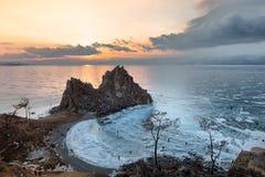Bevroren Meer Baikal Stock Afbeeldingen