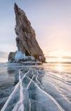 Bevroren Meer Baikal Royalty-vrije Stock Foto's