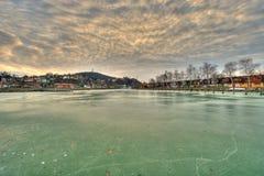 Bevroren meer Balaton royalty-vrije stock afbeeldingen