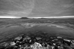 Bevroren meer Balaton Stock Foto