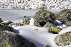 Bevroren meer in de vallei Stock Afbeelding