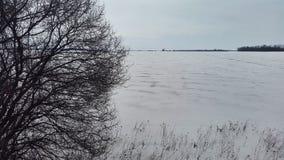 Bevroren meer in de winter Royalty-vrije Stock Fotografie