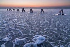 Bevroren Neusiedler-meer, Oostenrijk Royalty-vrije Stock Foto's