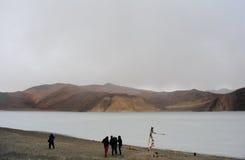Bevroren Pangong-Meer in de wintertijd Royalty-vrije Stock Fotografie