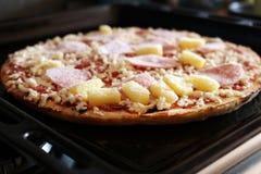 Bevroren pizza met ham en ananas op de plaat Royalty-vrije Stock Foto's