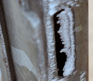 Bevroren poort in de winter royalty-vrije stock foto's