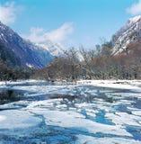 Bevroren rivier in de vallei Stock Foto's