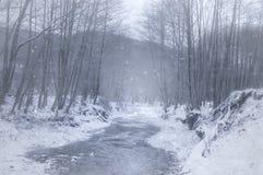 Bevroren rivier in de winter Royalty-vrije Stock Afbeelding