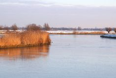 Bevroren rivier in een polder in de winter in Holland Royalty-vrije Stock Fotografie