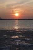 Bevroren Rivier Hudson onder Zonsondergang NYC Royalty-vrije Stock Fotografie