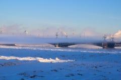 Bevroren rivier Neva. -25 graden Celsius Royalty-vrije Stock Afbeeldingen