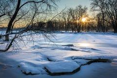 Bevroren Rivierzonsopgang Stock Afbeeldingen