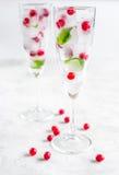 Bevroren rode bessen in ijsblokjes met munt in glazen op steenachtergrond Stock Foto