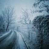 Bevroren straat stock afbeelding