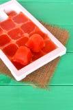Bevroren tomatesapkubussen in een plastic vorm Het levenshouwer, gemakkelijke manier om groenten op te slaan Stock Foto's