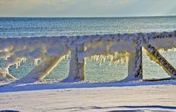 Bevroren traliewerk van houten pijler Royalty-vrije Stock Foto's