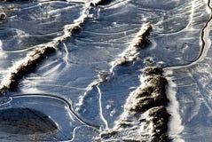 Bevroren vijver - Ijs en water Stock Foto